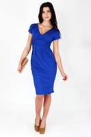Wholesale Dress Size 18 Sleeves - Classic & Elegant Women's Dress V-Neck Cocktail Jersey Office Size 8-18 5900