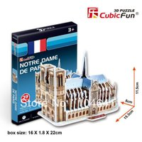 Wholesale 3d Puzzles Paris - Wholesale-Notre Dame De Paris CubicFun 3D educational puzzle Paper & EPS Model Papercraft Home Adornment for christmas gift