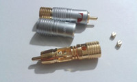 Wholesale gold plated rca plugs resale online - 4 Gold Plated Nakamichi Pure Copper RCA Non solder plug Connector