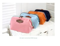 Wholesale Canvas Bags Colour - Women's Makeup Cosmetic Cases Fashion Travel Kit Solid 4 Colours Organizer Bag For Lady Small Zipper Cosmetic Bags