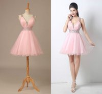 Wholesale spaghetti v neck homecoming dress - Pink Tulle Short Homecoming Prom Dresses 2018 V-Neck A-Line Backless Mini Dress With Beads Crystal Party Pageant Dresses