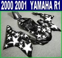 yamaha stern großhandel-Verkleidungsteile für YAMAHA YZF R1 2000 2001 weiß schwarz Sterne ABS hochwertige Verkleidung YZF1000 00 01 BR65 anpassen