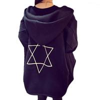 Wholesale korea plus size clothing online - 2016 New Korea style Hoodies Women Plus size Geometry Sweatshirts Hooded Fleece Thick Woman Hoodies Clothing Print Warm Tops