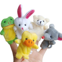 Wholesale Puppets For Kids - 10Pcs Family Finger Puppets Cloth Doll Baby Educational Hand Cartoon Animal finger toys gift for kids finger Plush Toy free shipping