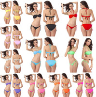 Wholesale new style brand bikini - Brand New 2016 Butterfly Style Top Removable Halter Neck Crochet Bandage Padded Bikini Strappy Ties Swimsuits 11 Colors Plus Size