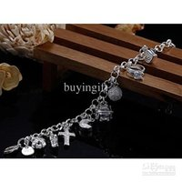 Wholesale Cheap Cross Charms - Super beautiful high-quality 925 Silver Swarovski Elements Crystal fashion charm cross star lovely bracelet Cheap jewelry Holiday gifts H144