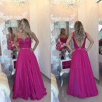 Wholesale Satin Lace Sweetheart Natural Waist - 2016 Sweetheart A-line Prom Dresses Fuchsia Natural Waist Appliques Beaded Delicate Backless Custom Made Real Evening Party Dresses Gowns