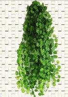 ingrosso decorazioni di fiori d'uva-Fiore 210cm Ft Piante artificiali lunghe Foglie di edera verde Foglie di vite artificiali Foglie finte Decorazione domestica Matrimonio Ghirlanda