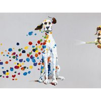 Wholesale Dog Pictures - Cartoon Animal Dog with Colorful Bubble Hand-painted Oil Painting on Canvas Mural Art Picture for Home Living Bedroom Wall Decor