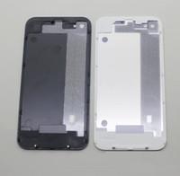 huawei ascend p7 preto venda por atacado-Parte traseira da tampa da porta da carcaça da bateria de vidro Parte de substituição GSM para o iphone 4 / 4S cor branca preta 500pcs / lot