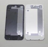 ingrosso vetro posteriore di iphone 4 di apple-Parte posteriore di ricambio della copertura della porta di porta della batteria di vetro posteriore GSM per il bianco 4 / 4S di colore bianco del nero 500pcs / lot