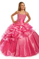 rosa quente menina vestidos venda por atacado-Anjos perfeitos 1417 Hot Pink Little Girls Pageant Vestidos de Lantejoulas Vestidos Da Menina de Flor vestido de Baile Crianças Crianças Vestido Festival