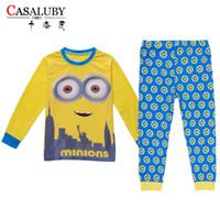 Wholesale Minion Pajamas For Girls - 60pcs lot Hot sale Baby boys girls cotton long sleeve Christmas sleepwear minions striped pants pajamas outfits for children