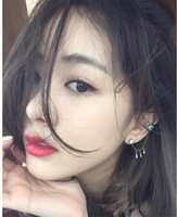 Wholesale Korea Woman Sexy Hot - Hot Sale Korea Fashion Gun Black Ear Cuff Sexy Eyes Shape Charm Crystal Rhinestone Stud Earrings For Women Jewelry