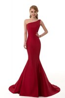 Wholesale Cheap Fashion Tanks - 2015 Cheap One Shoulder Mermaid Evening Dresses Burgundy Satin Formal Party Dresses Bridesmaid Dresses Evening Gowns Real Pictures