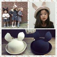 Wholesale Kids Fedora Ears - Children Wool Hats Cap 2015 Autumn Winter Baby Girls Rabbit Ear Hats Devil Dome Cap Black Khaki Color Fedoras Kids Round Caps for 3-12Y 5PCS