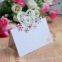 Wholesale Wedding Favor Boxes Purple Heart - 100pcs Love Heart and butterfly Laser Cut Wedding Party Table Name Place Cards Favor Decor white&purple