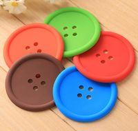 nuevo diseño de botones al por mayor-NUEVA estera colorida de la taza de la historieta del diseño del botón de la manera, cojín aislador de la taza dulce, práctico de costa