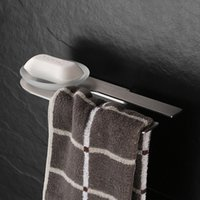 Wholesale Dish Paper - Wall Mounted Stainless Steel Soap Dishes Soap Holder With Towel Bar Towel Rack Paper Brush Nickel Orb Bathroom Accessories