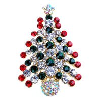Wholesale Buckle Tree - Sparkling Crystals Colorful Christmas Tree Brooch Stunning Mixed Colored Diamante Christmas Gift Buckle Pins