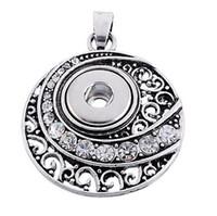 Wholesale Cubic Zirconia Heart Necklace - Vintage silver Noosa Pendant Necklace Charm chunks snap button jewelry DIY Necklace Snap Button Bracelet Interchangable Jewelry