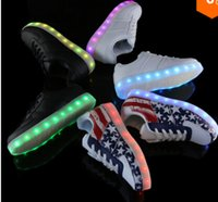 spelling led - New fashion Flat with LED Sneakers Colorful Spell color printing shoes men and women USB charging luminous fluorescence shoes