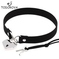 Wholesale Steel Lock Collar - Wholesale- Todorova Gothic Punk Harajuku Heart Lock Velvet Leather Choker Necklace Choker Collar with Key Jewelry for Women Accessories