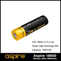 Wholesale Hybrid Ecig - Powerful Aspire 18650 Cell Hybrid IMR 1800mah 18650 Battery High Discharge Current 40A ICR 18650 Battery Cells Ecig Battery