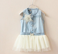 Wholesale Cotton Denim Girls Dress - Girls Summer Dress Girl Denim Pentagram Flower Gauze Sundress 2-7Y 305673