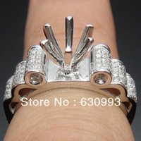 Wholesale Semi Mount Ring Round Cut - Wholesale-Jewelry Promotion Solid 14K White GOLD Round Cut 6.5mm 0.38ct Natural Engagement Semi-Mount RingWholesale Free Shipping Hot