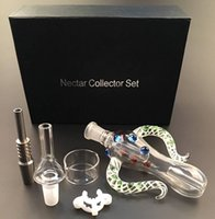 Wholesale packing dishes online - Colourful Nectar Collector Kit Ox Horn Shape With Individual Packing Both mm Quartz Tip GR2 Titanium Tip Dish Ash Catcher bongs