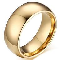 ingrosso anelli in carburo di tungsteno per le donne-Fede nuziale in carburo di tungsteno placcato oro a forma di cupola per uomini e donne Taglia 6-13 Vendita calda negli USA e in Europa