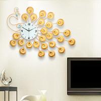 grandes de europa y moderno reloj del arte de los relojes de cuarzo mudo del pavo real de la creativa saln reloj de pared