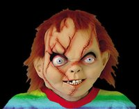 Wholesale Chucky Full Head Mask - New Adult Horror Scary Head Mask Chucky Halloween Costume Theater Prop Novelty