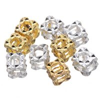 Wholesale 100 Silver gold Cube Filigree Bead for European Charm Bracelet pandora beads in mm
