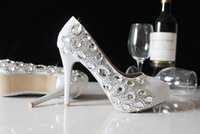 Wholesale Shining Crystal High Heels - 2015 Elegant Silver Crystals Pumps High Heels Rhinestones Beaded Bridal Shoes Shining Ladies Wedding Party Shoes