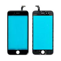 iphone 6s oca toptan satış-Ön montajlı Ön Cam Dış Lens iphone 6 6 Artı 6 S 6 S Artı Orta Çerçeve Çerçevesi + OCA Filmi ile Ön Cam Siyah Beyaz