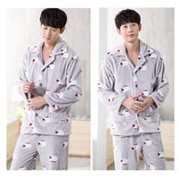 Wholesale Thick Warm Sleepwear - 2017 New Winter Pajamas Men Thick Fleece Pajama Sets Luxury Warm Sleepwear Plaid Suits Man Casual Home Clothes Pijama