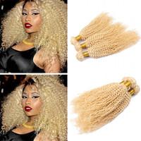 afro kinky kıvırcık insan saçı örgüleri toptan satış-Bleach Sarışın Kinky Kıvırcık İnsan Saç Paketler 613 Saf Renkli Hint Bakire Saç Atkı Afro Kıvırcık Sarışın İnsan Saç Dokuma