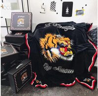 Wholesale Head Beds - Creative Design Tiger Head Black Solid Blankets 150*200CM Single Bed Flannel Blanket Fashion Christmas Gift Coral Fleece Blankets