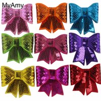 Wholesale Embroideried Sequin Bows - Myamy 45pcs  Lot Girls 3'' Sequin Bows Applique Bow Knot Embroideried Hair Bows For Fashion Headbands Diy Hair Accessories