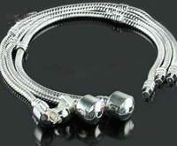 Wholesale bracelet ring chain sizes resale online - Mixed Size Silver Bracelet European Style DIY Bead Fit mm Snake Chains Bracelet inch
