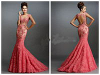 2015 Mermaid Janique 1514 Abiti da sera Sheer Bateau Backless Capped Senza maniche Coral Applique paillettes in rilievo Prom Dresses Abiti da madre