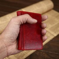 Wholesale Waxed Nylon - Wholesale- Natural Wax and Burnishing Leather Card Wallet Vintage Card Purse Premium Grain Genuine Leather Credit Card Holder Cow ID Case