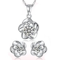 Wholesale Plum Silver Earrings - 100% 925 Silver Jewelry Sets Sterling Silver Jewelry set for Women Plum Flower Set Free Shipping
