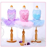 Wholesale Lollipops Costumes - Lollipop flower heart shaped puffy skirt dog clothes for small dogs girl Spring and summer dog costumes puppy clothes