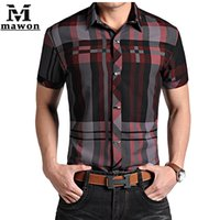 Wholesale-Plus Size 4XL Camisa Social New 2015 Men Rock-Sommer-Plaid-Hemden Revers Covered Buttons Metall Dekoration Kurzarmshirts