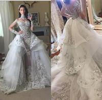 boncuklu elbise sökülebilir etek toptan satış-Lüks Kristal Gelinlik 2018 Ayrılabilir Etek Ile Yüksek Boyun Uzun Kollu Boncuklu Aplike Mahkemesi Tren Gelin Önlükler