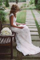 Wholesale White Classic Style Wedding Dresses - Classic Romantic Wedding Dress Lace 2015 Modest Country Style V Neck Keyhole Back Vintage Bridal Dresses Cap Sleeves Outdoor Bride Gowns
