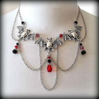 Wholesale Vintage Design Element - Fashion Multi Element Choker Creative Design Vintage Bat Chokers Necklace Trendy Classic Crystal Pendant Necklaces Jewelry For Women